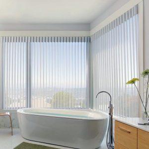 mc.2 Hunter Douglas Luminette creates privacy for bathroom